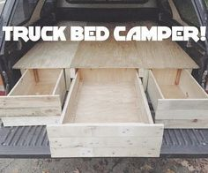 I wanted to make a camping bed with pullout drawers for my truck. After getting a truck camper top, I gathered up some reclaimed wood from pallets and old shipping crates. Truck Bed Tent, Truck Bed Storage, Truck Bed Camping, Truck Bed Drawers, Truck Canopy Camping, Truck Bed Slide, Minivan Camping, Storage Trunk, Camping Hammock