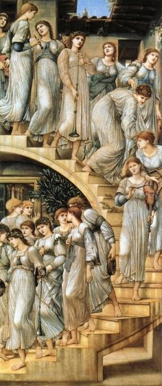 """""""The Golden Stairs"""". Artist : Edward Burne-Jones. Sir Edward Coley Burne-Jones was a British artist and designer closely associated with the later phase of the Pre-Raphaelite movement who worked closely with William Morris on a wide range of decorative arts as a founding partner in Morris, Marshall, Faulkner & Co. 