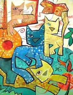 "Gatos"". Pintura de Andruchak"