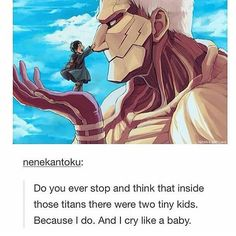 I always think of the tiny children that destroyed Wall Maria and the pressure they were under <<<<< Honestly, I love Reiner and Bertholdt. I'm gonna cry if or when they die Attack On Titan Funny, Attack On Titan Ships, Attack On Titan Anime, Attack On Titan Theories, Ymir, Ereri, Otaku, Levi X Eren, Levi Ackerman