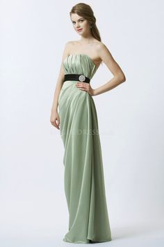 Strapless Empire Elastic Silk Like Satin Sheath/ Column Ruched Backless Bridesmaid Gown