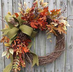 Fall Wreath Fall Berry Wreath Fall Leaf Wreath by HornsHandmade
