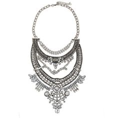 Collar Crystal Silver Chains Bib Necklaces Statement Choker Boho Style (68 BRL) ❤ liked on Polyvore featuring jewelry, necklaces, silver bib necklaces, crystal necklace, statement necklaces, chain necklace and chain choker necklaces