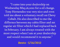 When you service your vehicle with us, you can count on this type of experience every time!