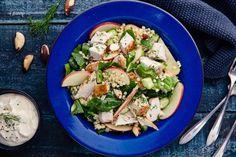 Israeli Couscous Salad With Roast Chicken & Apple - Viva Chicken Couscous Salad, Israeli Couscous Salad, Couscous Salad Recipes, Vegetarian Salad Recipes, Spinach Recipes, Salad Dressing Recipes, Chicken Salad Recipes, Pine Nut Salad Recipe, Israeli Food