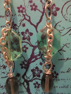 """light green glass silver chained beads, purple glass beads, silver findings 2 1/2"""" product #e028  $10.00 sweetteabeads.com"""
