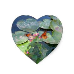 Lily Pads and Monarchs Heart Stickers - #butterfly #lilypad #hearts