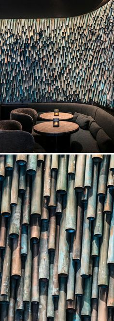 Designer Raphael Navot has used oxidised copper tubes to create a unique and interesting accent wall in a restaurant within a hotel. - Oxidized Copper Pipes Have Been Used To Create A Unique Accent Wall Within A Parisian Restaurant Design Hotel, Restaurant Design, Restaurant Ideas, Restaurant Exterior, Luxury Restaurant, Wall Texture Design, Exterior Wall Design, Copper Tubing, Copper Pipes
