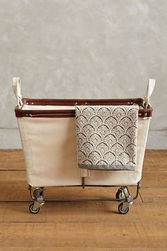 Medium Mobile Canvas Bin #anthropologie // GREAT for storing blankets to stay cozy on the porch with