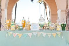 yellow and blue candy table ideas