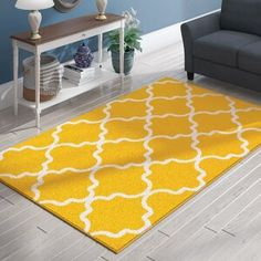 Well Woven Cabana Geometric Yellow/White Area Rug | Wayfair Yellow Rug, White Rug, White Area Rug, Blue Area Rugs, White Room Decor, Yellow Home Decor, Area Rugs For Sale, Pillow Sale, Quatrefoil