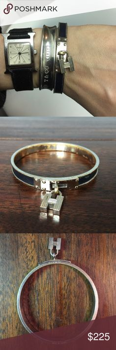 """Hermes Paris Vintage Kelly Cuff with H Charm Hermes Vintage Kelly Cadena silver toned and black palladium plated leather band and H lock charm bracelet. Oxidation, scratches and nicks on metal due to nature of material and wear. Size PM (65mm/2.5"""" diameter). No box. Hermes Jewelry Bracelets"""