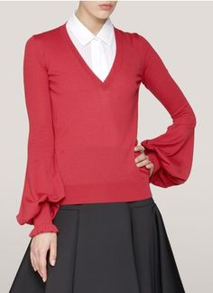 Alexander McQueen - Bell-sleeve V-neck wool sweater | Red Blouses & Shirts Tops