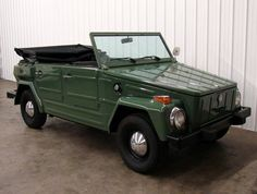 1974 Volkswagen 181 Thing. The Volkswagen Type 181 was a two-wheel drive, four-door, convertible, off-road, military vehicle manufactured by Volkswagen from 1968 to 1983. Originally developed for the German Army, the Type 181 was also sold to the public, as the Kurierwagen in Germany, the Trekker in the United Kingdom, the Thing in the United States (1973-1974), and the Safari in Mexico. Civilian sales ended after model year 1980.