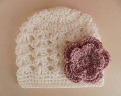 Crochet baby hat newborn girl hat crochet newborn by eanddcreation