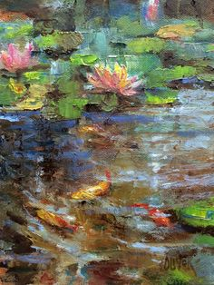 art criativa Art Talk - Julie Ford Oliver: Koi Fish and Lilies Water Lilies Painting, Lily Painting, Image Painting, Lotus Art, Impressionist Art, Fine Art Gallery, Landscape Art, Art Images, Beautiful