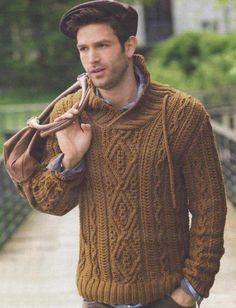Мужской пуловер рельефным узором.   Вязание для мужчин   Постила