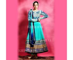 Blue Georgette Anarkali Suit.