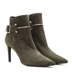 Balenciaga Suede Ankle Boots ($965) ❤ liked on Polyvore featuring shoes, boots, ankle booties, green, suede leather boots, suede boots, suede bootie, green booties and bootie boots