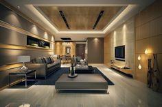 salon moderne, éclairage cotemporain, sofa gris, grande table carrée-lampes-suspendues