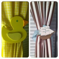 DIY curtain tie-backs.  Pre-painted wood shapes from michaels/ac moore -- glue-gunned to ribbon.  I've gotten some nice compliments on them. So simple and there's so many $.59 shapes to match many kids' room decors.