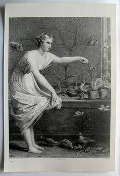 $24.99  THE ART Journal Steel Engraving Print Feeding THE Chickens BY L Levasseur | eBay