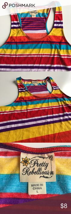 Striped Colored Size Large Tank Top! 💛 Bright colored tank top purchased from Macy's in size Juniors Large. Gently worn, from a smoke free home. Colors: aqua, yellow, red, orange, purple and white. Macy's Tops Tank Tops
