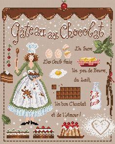 french valentine cross stitch pattern & charm at thecottageneedle.com