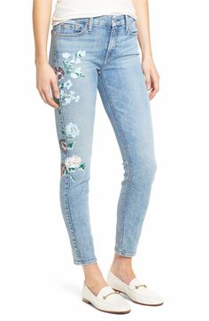 Main Image - 7 For All Mankind® Embellished & Ripped Ankle Skinny Jeans