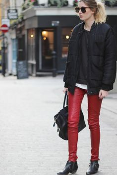 oh yep that's cool as. Camille throws one down with her red leather Alice + Olivia leather leggings. London. #CamilleCharriere #CamilleOverTheRainbow