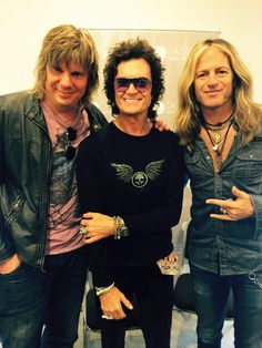 Me and my boys Doug Aldrich and Pontus Engborg at a press conference in Lima. All love...