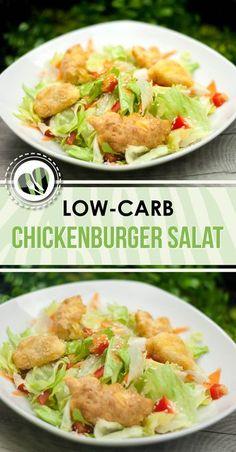 Der aufgepimpte Chickenburger Salat ist low-carb, lecker und macht satt. Die Soße besteht aus einer kohlenhydratarmen Süß-Sauer-Soße