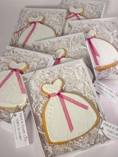 Wedding shower cookie favors. Wedding Gown Cookies. Decorated sugar cookies.