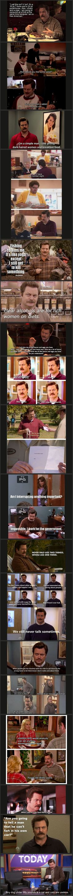 "Some of my favorite Ron Swanson quotes.  ""It's ok, I have a permit."" This just says, ""I can do what I want."""