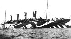 Razzle-dazzle camouflage on a WWI-era passenger vessel pulled into transport duty for the UK's Royal Navy.