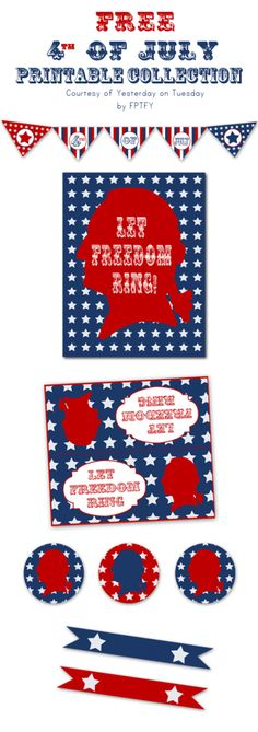 Free 4th of July Printables including a banner, cupcake toppers, art and more. Red, white and blue with a vintage feel.