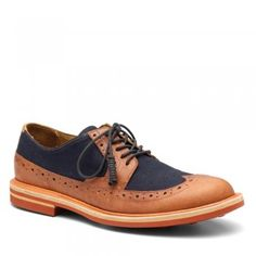 Men's Navy/Dark Tan Leather Shoes D4702