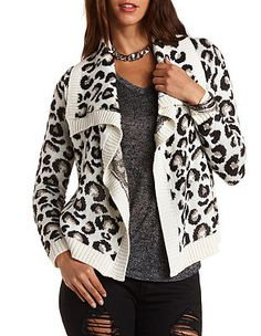 Leopard Print Cascade Cardigan: Charlotte Russe --//-- online only, on sale, $20