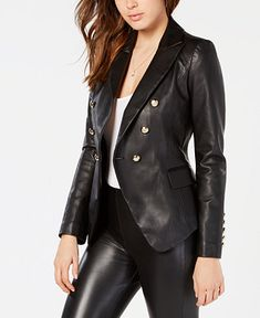 1d824fcd2657 Shop GUESS Kumi Double-Breasted Faux-Leather Blazer online at Macys.com.