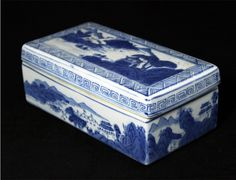 """A blue and white """"scandscape"""" rectangular box and cover. Qianglong mark 7.5""""x4"""""""