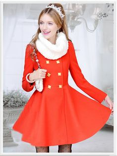 Morpheus Boutique  - Red Gold Double Breasted Long Sleeve Lovely Coat