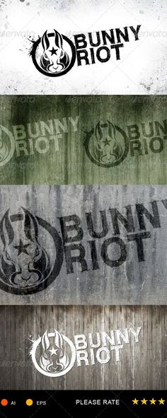 Buy Bunny Riot Logo Template by gulali on GraphicRiver. Grunge+Urban Logo Template, nice for community, clubs or paintball team, airsoft team, anything. Font Used WC ROUGH B. Airsoft, Logo Design Template, Logo Templates, Paintball, Logos, Logo Branding, Garage Logo, Bunny Logo, Gangster