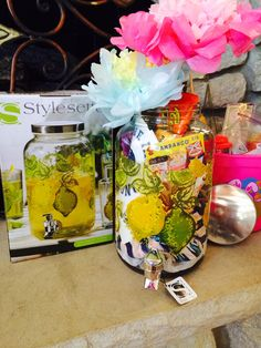 Another idea for Easter basket for an adult ... Lemonade dispenser filled with Easter goodies!