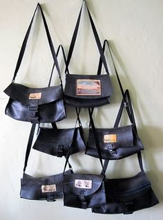 hand crafted rubber handbags...from scrapped truck~tire~liners