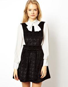 Image 1 ofASOS Premium Dolly Dungaree Skater Dress In Bonded Velvet