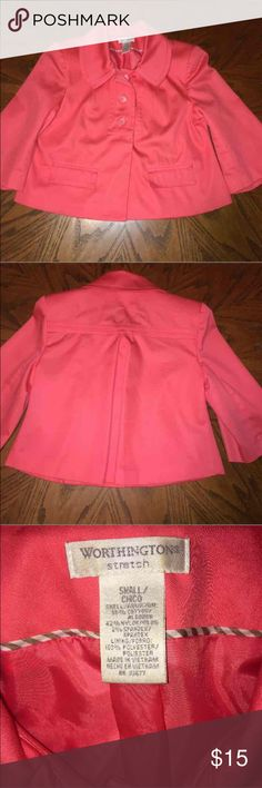 Worthington Jacket Size Small Worthington Jacket with 3/4 sleeves. Excellent condition.  56% cotton, 42% nylon, 2% spandex. Doesn't wrinkle and has just enough stretch to be comfortable. Machine wash & dry.  Coral/Melon in color. Pictures depict true color. Worthington Jackets & Coats Blazers