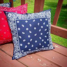 Blue bandana throw pillow 19 x 19 inches.  Home by hooliganshobby, $15.00