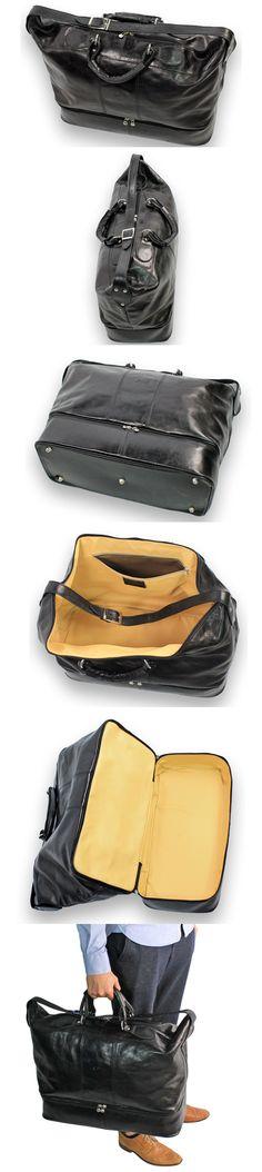 weekendtas tas tassen weekendbag real leather echt leer zipper rits secret part verborgen deel black zwart groot big shop now at safekeepers