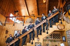 Groomsmen on Rustic Villa Staircase | Photography: Carter Rose for F8 Studio. Read More: http://www.insideweddings.com/weddings/classic-southern-wedding-with-movie-inspired-details-in-texas/743/