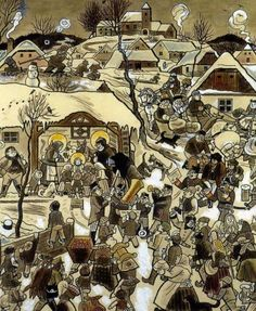 Josef Lada Narodil se 1926 kolorovaná kresba tuší Christmas Illustration, Children's Book Illustration, Russian Painting, Cartoon Sketches, Art World, Illustrators, Folk Art, Statues, Art Photography